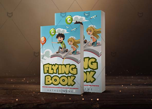 Children Book Cover Design Flying Book