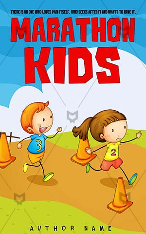 Children-book-cover-kids-marathon-cartoon