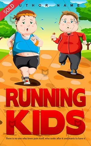 Children-book-cover-kids-run-cartoon