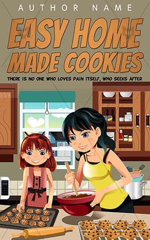 Children-book-cover-Baking-Daughter-Mother-Easy-Cookies-Cookbook-designs-Modern-Pretty-Indoor-Home-Woman-Cover-kids-Smiles