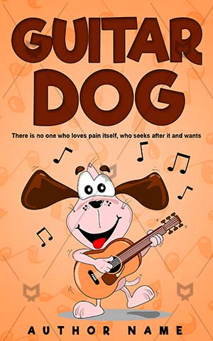 Children-book-cover-Cartoon-Dog-Play-Music-Happiness-Vector-Animals-Dancing-Kids-design-Guitar-Cute