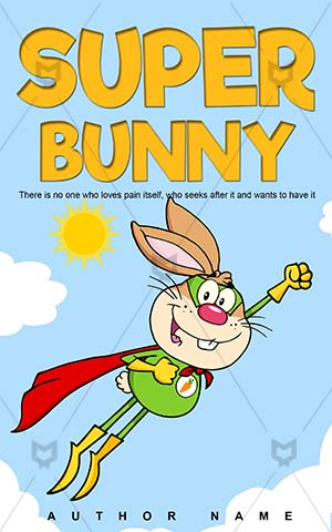 Children-book-cover-Cartoon-Fly-Hero-Rabbit-Book-with-rabbit-on-Super-hero-Vector-story-Costume-Heroic