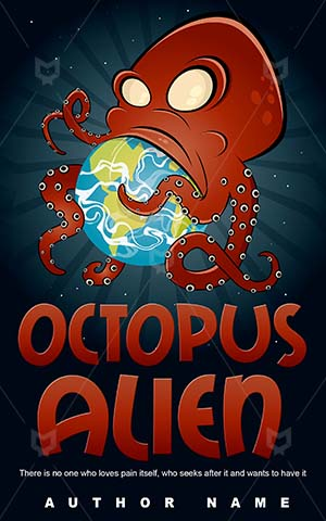 Children-book-cover-Earth-Attack-Monster-Alien-covers-Octopus-Giant-Cartoon-Funny-story-Eat-Planet-World-Hungry