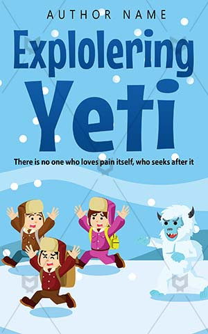 Children-book-cover-Exploring-Running-kids-Books-for-Group-Arctic-Yeti-Chased-Fun-Blue-Vector-Nature-Outdoor-Ice-Frozen-Adventure