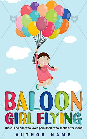 Children-book-cover-Girl-flying-Young-Flying-Colour-Kids-design-Object-Illustration-Hold-Playing-Woman-Sky-Closeup-Single-Baloon