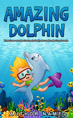 Children-book-cover-Girl-Little-Sea-Dolphin-Swimming-Book-for-kids-Animal-Underwater-Cartoon-design-cartoon-Smile