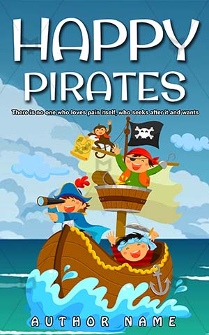 Children-book-cover-Happy-Pirates-Vector-Kids-Pirate-Sea-Cartoon-Smile-Captain-story-Ship-Sail