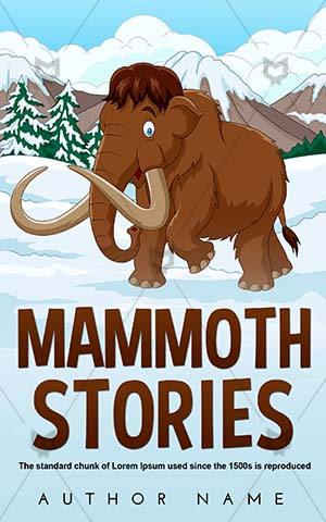 Children-book-cover-Ice-age-Large-Animal-Illustration-Brown-Cartoon-Elephant-Mammal-Trunk-Book-cartoon-Snow-Adorable-Fur