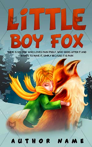 Children-book-cover-Illustration-Fox-Cartoon-Friend-Book-with-fox-on-Boy-Little-Story-Kids-Fairy-tale-Fantasy