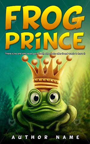 Children-book-cover-Illustration-Frog-Prince-Princess-king-Fairy-tale-Crown-Happy-Book-covers-for-kids-Animal-Funny