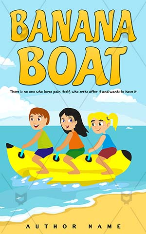 Children-book-cover-Kids-Banana-Fun-Boat-Cover-design-for-kids-Sport-Activity-Vector-Summer-Water-Life-Sea-Cartoon-Funny-Wave