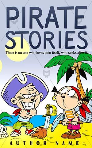 Children-book-cover-Kids-Pirate-covers-Pirates-play-pirates-Palm-trees-Fun-Illustration-Small-Treasure-Wealth-Gold-Travel-Joke