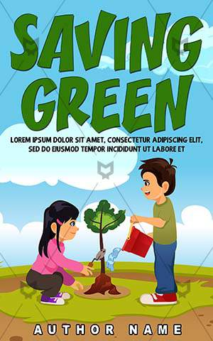 Children-book-cover-Lifestyle-Boy-Planting-Kids-Book-for-children-Green-Outdoor-Girl-Vector-Plant-Cartoon-Environment-Nature