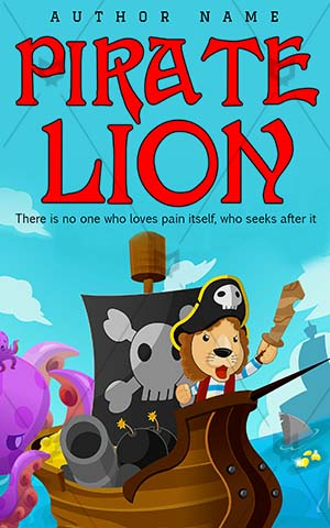 Children-book-cover-Lion-Fun-Pirate-Cartoon-Fantasy-Treasure-Sky-Animal-Sea-Kids-Violet-Story-Craft-Coin-Island-Octopus