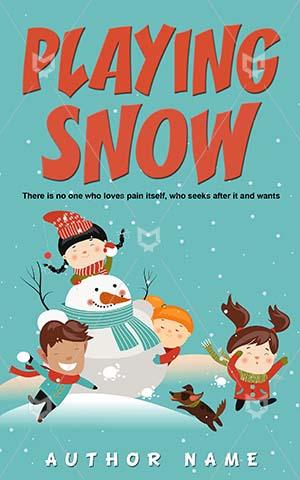 Children-book-cover-Play-Fun-Kids-Snow-Cover-kids-play-Vector-Snowman-Enjoyment-Pre-made-children's-covers-Cartoon-Game