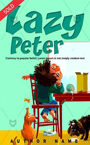 Children-book-cover-Play-Illustration-Boy-Lazy-story-Vector-Cartoon-Childhood-Kids-Messy-Peter