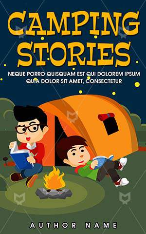 Children-book-cover-Summer-Campfire-Kids-Stories-Outdoor-Vector-Journey-Camping-Forest-Camp-Tent