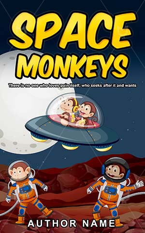 Children-book-cover-Vector-Space-Illustration-covers-Sky-Moon-Monkey-UFO-Book-designs-for-kids-Astronaut-Spaceship-Planet