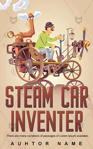 Educational-book-cover-Car-Steam-Inventor-Science-fiction-design-Illustration-Man-Technology-Antique-Engineer-Automobile-Cartoon-Driving