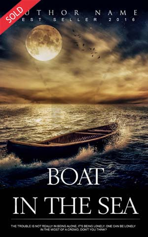 Fantasy-book-cover-alone-sea-boat-evening-fiction