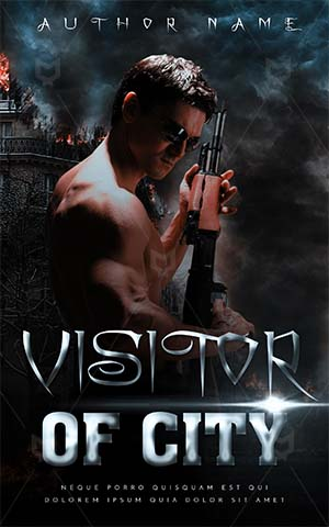 Fantasy-book-cover-fantasy-gangster-gun-man-with-city-war-premade-covers