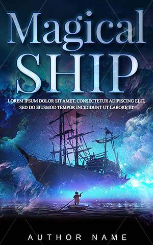Fantasy-book-cover-Floating-Ship-Night-Sky-Looking-Boat-Magical-Stars-Rowing-Painting-Pirates-Ruined
