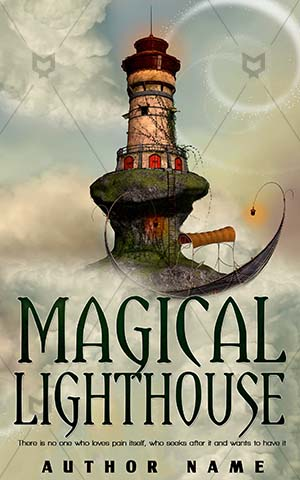 Fantasy-book-cover-House-Lighthouse-Premade-covers-fantasy-Illustration-Mushroom-Trees-Forest-Magic-Land-Houses-Mystical-Castle-Mystic