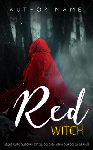 Fantasy-book-cover-red-witch-dark-forest-riding-hood-dressed-woman