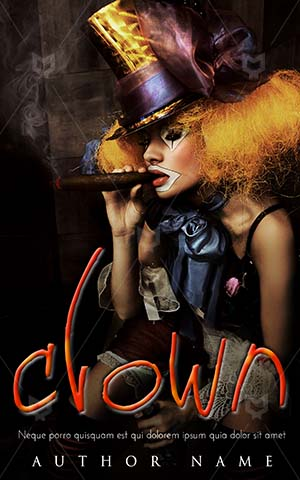 Fantasy-book-cover-Scary-Monster-Clown-Fine-art-Cigar-smoke-Woman-smoking-Gothic-woman-Black-clown-zombie-Halloween