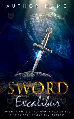 Fantasy-book-cover-sword-excalibur-underwater