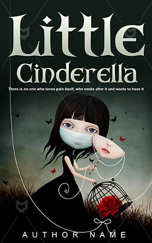 Fantasy-book-cover-Vector-Girl-Cinderella-Book-covers-for-girls-Cute-Little-Fairy-tale-Mask-Cartoon