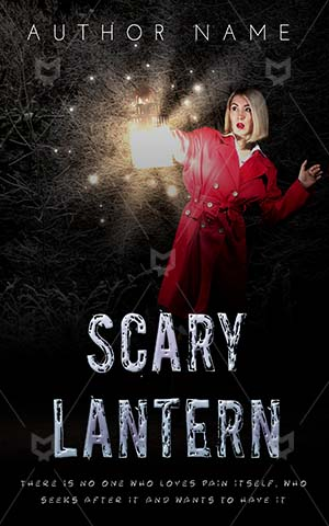Fantasy-book-cover-Woman-Lantern-with-lantern-Red-Frock-Alone-Horror-Scary-Tale-Detective