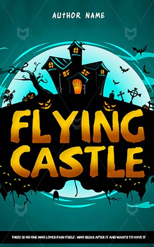 Horror-book-cover-flying-halloween-castle
