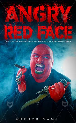 Horror-book-cover-Angry-Man-Face-Scary-story-red-faced-man-Red-Evil-Knife-Anger-Killer-Mystery-Crime-Smoking
