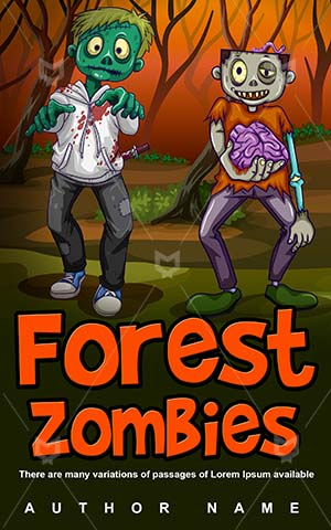 Horror-book-cover-Forest-Zombie-Halloween-covers-for-kids-Zombies-Vector-Dangerous-Walking-Jungle-Scary-Undead