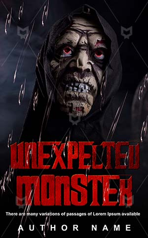 Horror-book-cover-Halloween-Unexpected-Zombie-monster-design-Black-Dark-Scary-Night-Death-Evil-Monster-Spooky