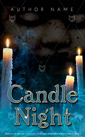 Horror-book-cover-horror-candle-scary-ghost-smoke-blue-with-fire