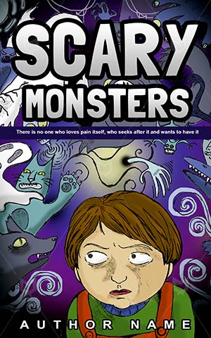 Horror-book-cover-Scary-Monsters-Young-Danger-stories-Child-Dark-Imagination-Nightmares-Spooky-Scared