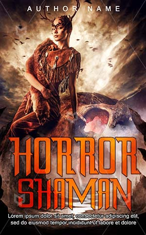 Horror-book-cover-Spiritual-Scary-Mysterious-Hunter-Shaman-Beast-covers-Halloween-Fairy-tale