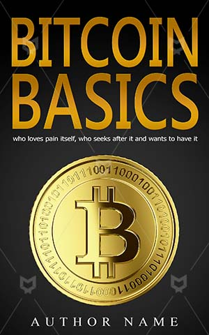 Nonfiction-book-cover-Bitcoin-Golden-Basics-Premade-non-fiction-covers-Crypto-currency-Coins-Currency-Money-Financial-Digital-Market-Business