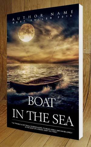Fantasy Book Cover Design Boat In The Sea