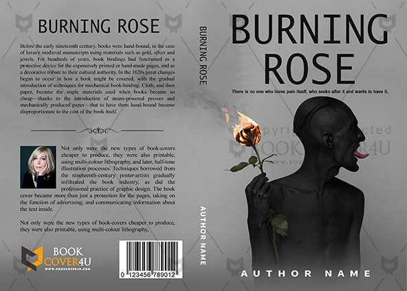 Romance Book Cover Design Burning Rose