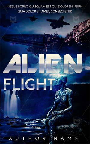 Thrillers-book-cover-alien-flight-covers-man-blue-sky-attack-scry-horror