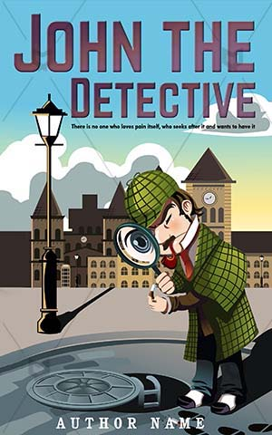 Thrillers-book-cover-Detective-John-covers-Man-exploring-Exploring-Magnifying-glass-Vector-Thriller-Police
