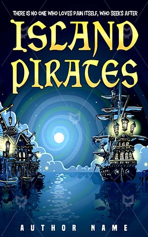 Thrillers-book-cover-Ship-Pirates-Adventure-Island-Pirate-Bay-Village-Night-Mystery-Ocean-Harbor